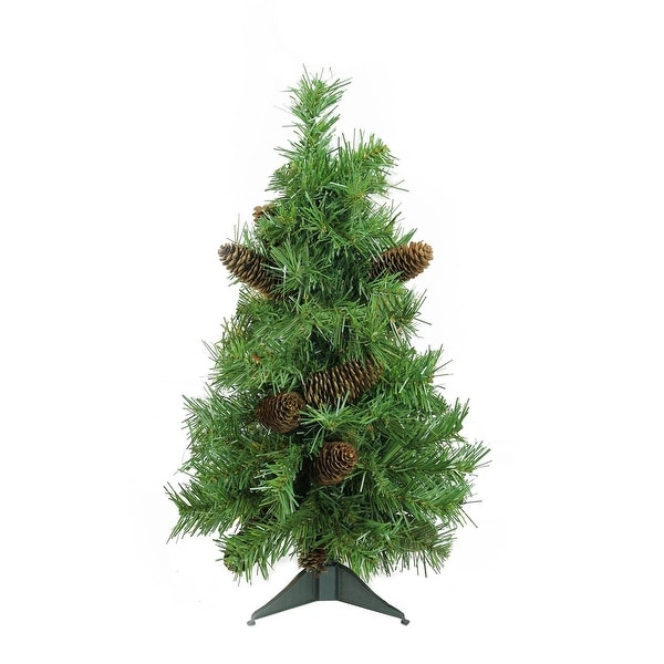 "2' x 15"" Dakota Red Pine Full Artificial Christmas Tree with Pine Cones - Unlit - green"