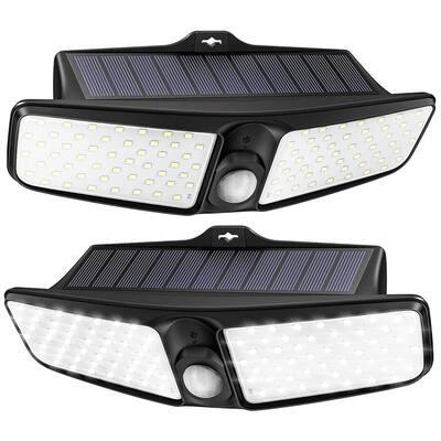 Litom 2 Pack IP65 Waterproof Solar Lights Outdoor 100 LEDs Upgraded PIR Detection System Solar Motion Sensor Light