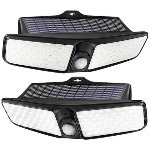 Litom 2 Pack Outdoor Solar Lights 100 LEDs Upgraded PIR Detection System Solar Motion Sensor Light