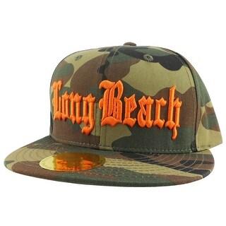 Long Beach City Camo Orange Logo Snapback Hat Cap by CapRobot