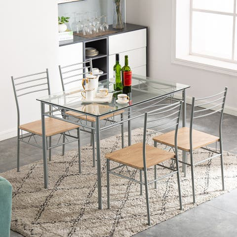 Iron Glass Dining Table and Chairs Silver One Table and Four Chairs MDF Cushion,110 x 70 x 76cm