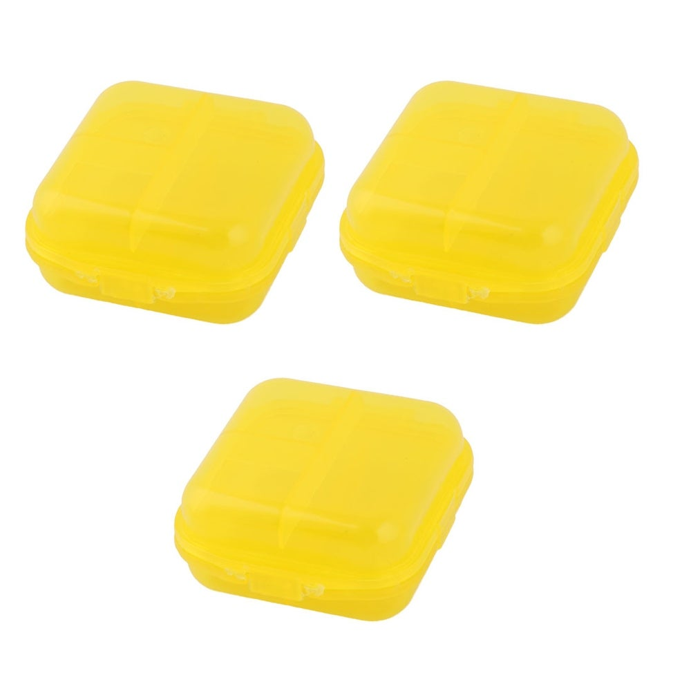 Family PP 2 Compartments Tablet Pill Organizer Dispenser Box Case Yellow 3 Pcs
