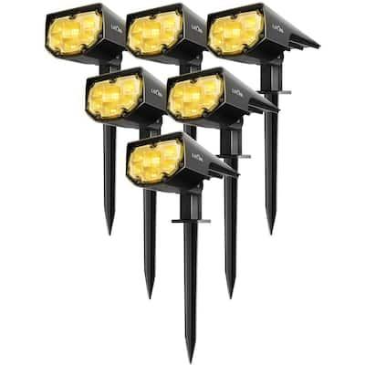 Litom 6 Pcs 12 LEDs IP67 Waterproof 2-in-1 Wireless Outdoor Solar Landscaping Light