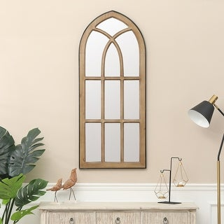 "Link to Natural Wood Window Wall Mirror - 48.6"" H x 20.6"" W Similar Items in Decorative Accessories"