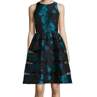 Ronni Nicole NEW Blue Womens Size 14 Floral Jacquard Illusion Tea Dress