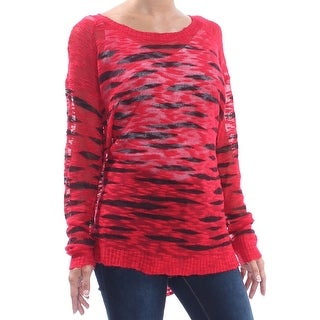 KENSIE Womens Red Printed Long Sleeve Crew Neck Sweater  Size XS