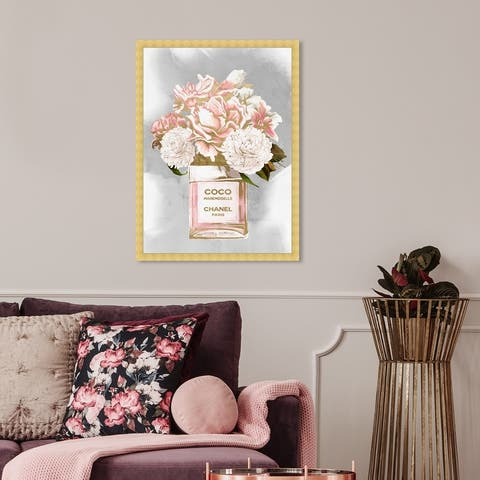 Oliver Gal 'Floral Perfume Peonies Tall' Fashion and Glam Wall Art Framed Print Perfumes - Pink, Gray