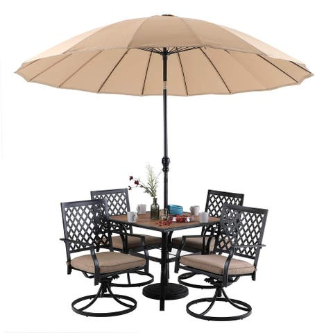 """MFSTUDIO 6 Pieces Patio Dining Sets with 1 x 37""""x 37"""" Square Table,1 x 10 ft Outdoor Umbrella and 4 Metal Swivel Chairs"""