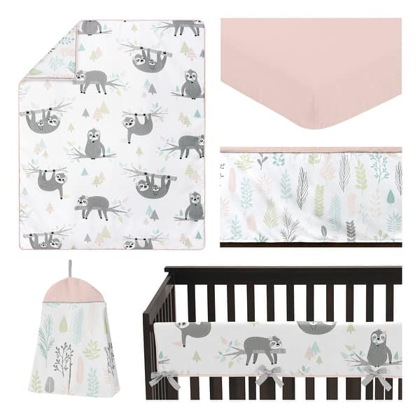 Pink Jungle Sloth Leaf Collection Girl 5 Pc Nursery Crib Bedding Set Blush Turquoise Grey Green Tropical Botanical Rainforest Overstock 31290407