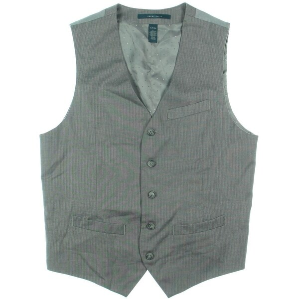 Perry Ellis Mens Suit Vest Herringbone V-Neck
