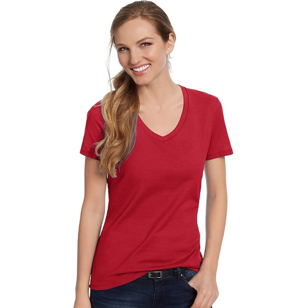 4c5e0083d64e2 Shop Hanes Women s Nano-T® V-Neck T-Shirt - Size - XL - Color - Deep Red - Free  Shipping On Orders Over  45 - Overstock - 13920309