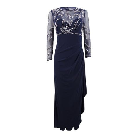 Betsy & Adam Women's Petite Beaded Ruched Gown - Navy/Silver