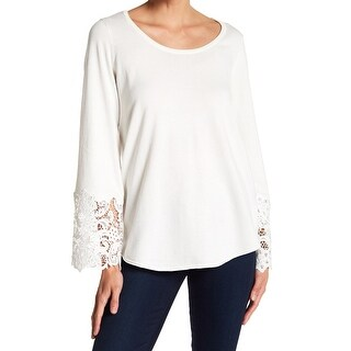 Devotion by Cyrus Ivory Womens Small Crochet-Trim Pullover Sweater