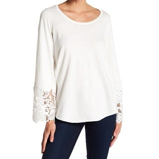 Devotion by Cyrus NEW Ivory Womens Small S Crochet-Trim Pullover Sweater