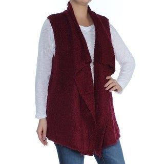 KENSIE Womens Maroon Sleeveless Open Cardigan Top  Size: L