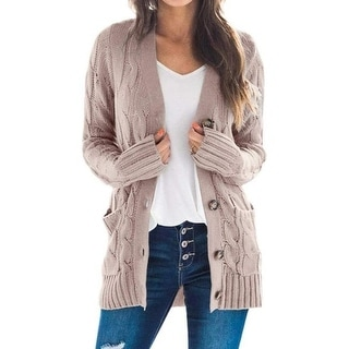 Link to Button Down Knit Open Front Cardigan Sweater Similar Items in Women's Sweaters