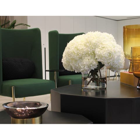 White Hydrangea Bouquet in clear glass cylinder vase