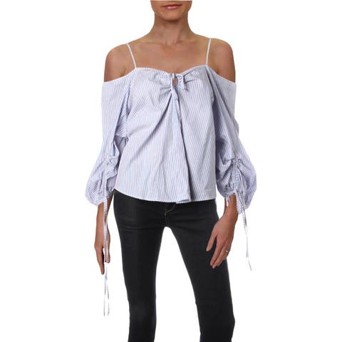 Aqua Womens Blouse Cold Shoulder Striped