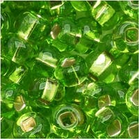 Czech Seed Beads 6/0 Lime Green Silver Foil Lined (1 Ounce)