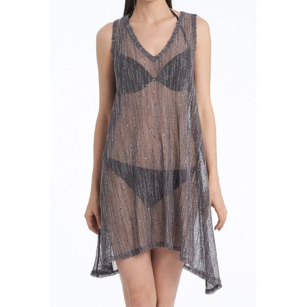 d78cacec583921 Shop Jordan Taylor Gray Mesh Sheer Women Small S Cover-Up Dress Swimwear -  On Sale - Free Shipping On Orders Over  45 - Overstock - 27142912