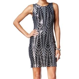 Guess NEW Black Silver Women's Size 12 Sheath Sequin Geo Dress