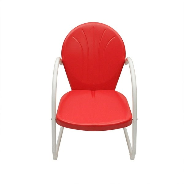 Delicieux Vibrant Red And White Retro Metal Tulip Chair
