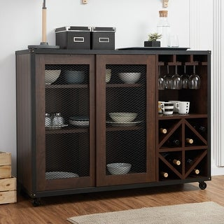 Link to Furniture of America Hury Modern Walnut 47-inch Sliding-door Buffet Similar Items in Home Bars