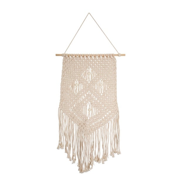 """Set of 4 Brown and Tan Macrame Wall Hanging Decoration 38"""" - N/A"""