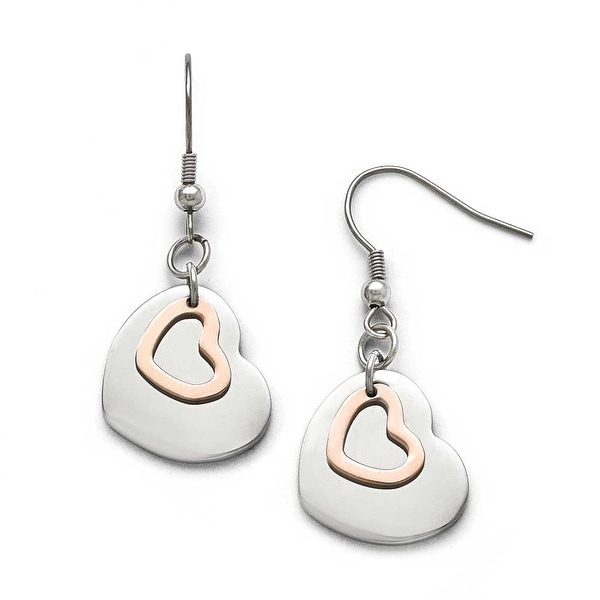 Chisel Stainless Steel Polished Rose IP-plated Hearts Shepherd Hook Earrings