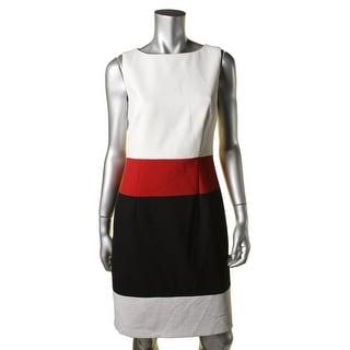 BOSS Hugo Boss Womens Colorblock Sleeveless Wear to Work Dress - 4
