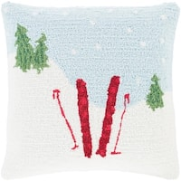 """18"""" Sky Blue and Snow White Winter Slopes are Calling Holiday Throw Pillow –Down Filler"""