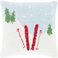 """18"""" Sky Blue and Snow White Winter Slopes are Calling Holiday Throw Pillow Cover"""