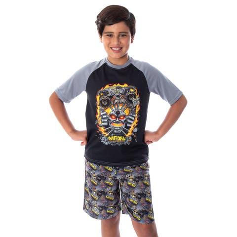 Monster Jam Boys' Maximum Destruction MAX-D Monster Truck T-Shirt And Shorts 2 Piece Pajama Set
