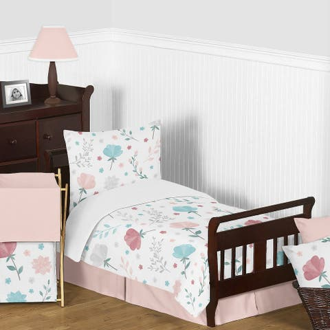 Pop Floral Rose Flowers Girl 5pc Toddler Comforter Set - Blush Pink Teal Turquoise Blue Grey Boho Shabby Chic Modern Watercolor