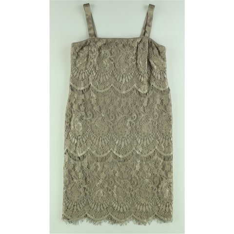 R&M Richards Womens Lace Shift Dress, beige, 10