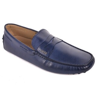 Tod's Navy Leather Scooby Gomma Slip On Moccasins