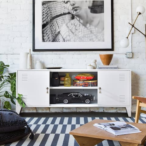 White TV Stand with 3 storage shelf,TV cabinet For TV Up to 55Inch