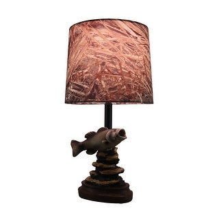 Mossy Oak Fresh Catch Fish Lamp With Camouflage Fabric Shade   Brown