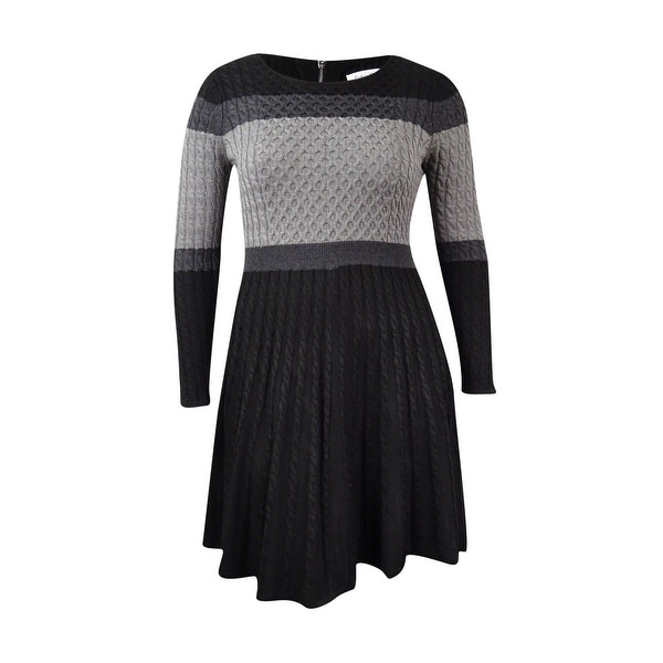 c89b26ddf04d Shop Calvin Klein Women's Colorblocked Cable-Knit Sweater Dress - Black/Charcoal  - Free Shipping Today - Overstock - 17572862