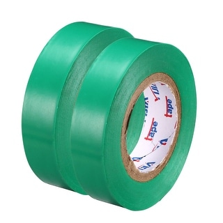 "PVC Electrical Insulating Tape Single Sided 21/32"" Width 49ft 6mil Green 2pcs - 6 mil Thick, Green"