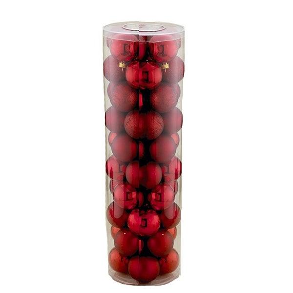 50 pc Red Shatterproof Christmas Ornament Ball Set