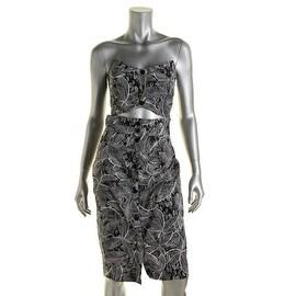 Rachel Rachel Roy Womens Linen Strapless Cocktail Dress - 12