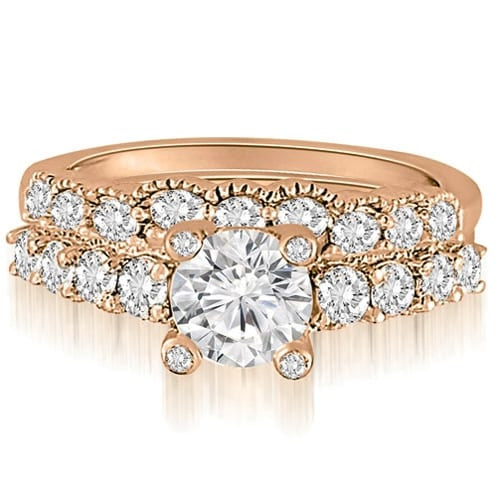 2.05 cttw. 14K Rose Gold Antique Style Milgrain Diamond Bridal Set
