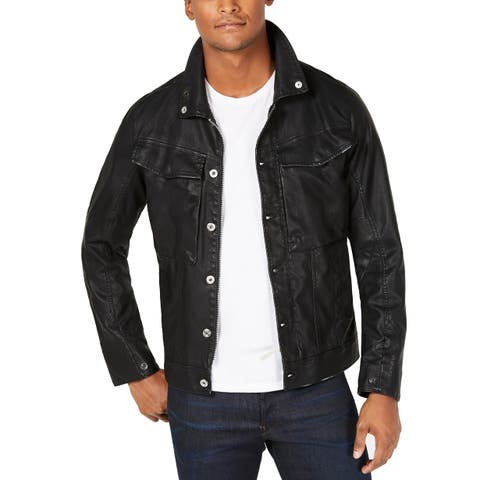 G-Star Raw Mens Jacket Black Size Small S Faux Leather Button Front
