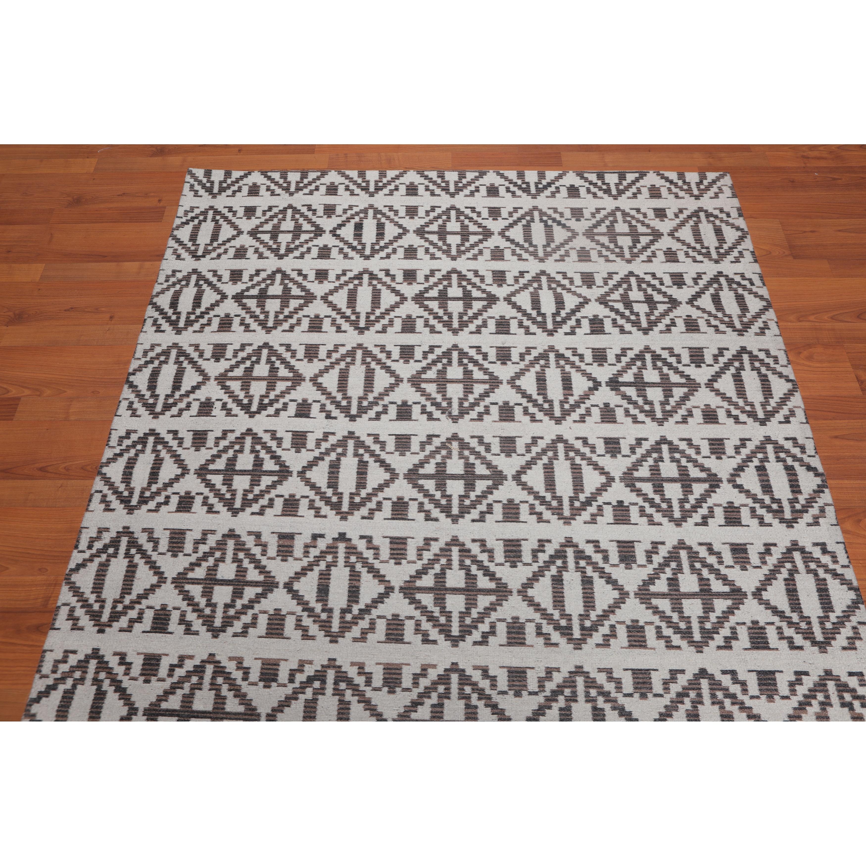 Hand Made Beige Brown Flatweave Wool Modern Contemporary Oriental Area Rug 5x7 5 X 8 On Sale Overstock 31523654