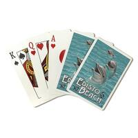 Edisto Beach, SC - Dolphins - LP Artwork (Poker Playing Cards Deck)