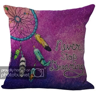 ChezMax Linen Blend Dream Catcher Pattern Cushion Cotton Square Decorative Throw Pillow 18 X 18''