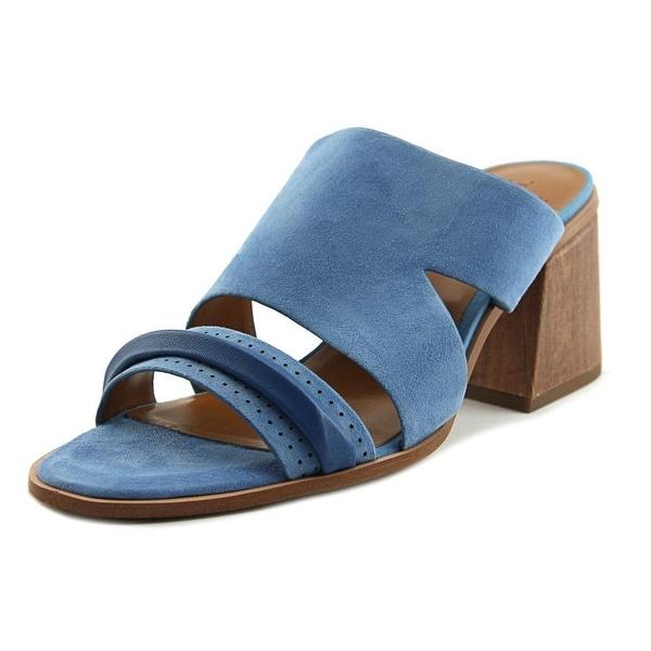 Halston RILEY Women Open Toe Suede Blue Sandals