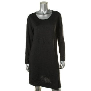 Eileen Fisher Womens Petites Merino Wool Jewel Neck Sweaterdress