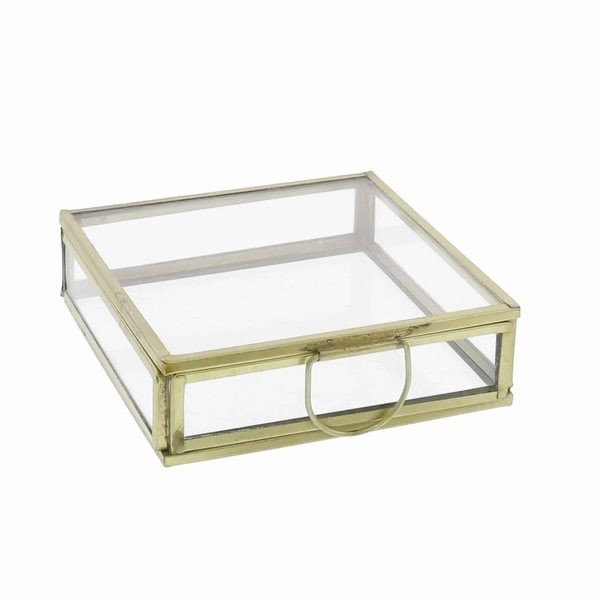 Modern Designed Flat Square Top Box with Metal Handle, Gold and Clear. Opens flyout.